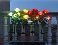ingrosso fiori di giardino solare potenza-Solar Powered 3 LED Rose Flower Light Lamp Puntare per la casa giardino Yard Lawn Pathway Partito decorativo Paesaggio LED luce rosa Grande per regalo