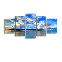 Wholesale Sea Poster Landscape - 5 pieces high-definition print sea Clouds Island anvas painting poster and wall art living room picture HaiD-009