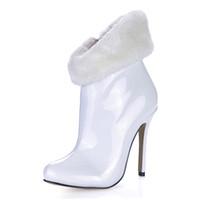 botas blancas de invierno para la piel de las mujeres al por mayor-Otoño Invierno 12CM Moda Sexy Botas de piel blanca Punta puntiaguda 12cm Botines de tacón alto Hasta la rodilla, tamaño Pluz ¡EU35-43!