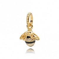 arı bilezik takı toptan satış-Bahar 18ct Altın Kaplama Gümüş Boncuk Kraliçe Arı Kolye Charms Avrupa Pandora Stil Takı Bilezikler Kolye Uyar 367075EN16