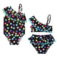 Wholesale swimsuit strapless - 2 Styles Baby Dot One-piece and Bikinis Swimsuit Kids Strapless tassel Lotus leaf collar swimwear Boutique girls Bikinis children Two-piece