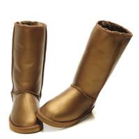 botas de calçados quentes de inverno unisex venda por atacado-Botas de grife botas australianas mulheres botas de neve 5815 couro impermeável inverno quente ao ar livre botas longas sapatos de inverno tamanho unisex eua 3-14