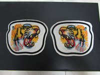 Wholesale Back Patches - Fashion White Leather With Embroidered Tiger UFO Lip Cat Patch Fashion Metal Snaps At The Back Removable Shoes Parts