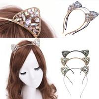 rhinestone de las vendas del oído del gato al por mayor-Regalos de la joyería de Cosplay del oído de la manera muchachas de las mujeres de metales Cat Lover de banda de pelo de la venda del partido del traje