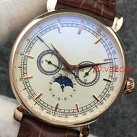 Wholesale top brand wholesalers - 2018 Brown Top Luxury Brand New Leather Gold Mechanical Men's SS Automatic Watch Sports mens Self-wind Watches Wristwatches