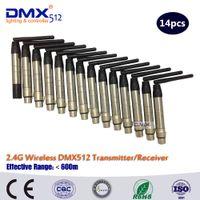 controlador dmx512 al por mayor-Venta al por mayor envío libre 2.4G inalámbrico DMX Signal Controller DMX 512 transmisor o DMX512 receptor para etapa Par Light