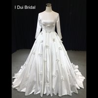 Wholesale 3d flower material resale online - Long Sleeve O Neck Satin Wedding Dress High Quality Material with Handmade Flower