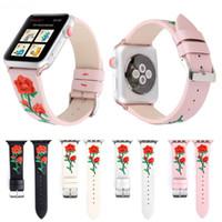 correa de reloj de cuero flor al por mayor-La correa de muñeca de cuero genuino bordada más nueva de Rose para la venda de reloj de Apple 40mm 44mm 38mm 42mm Correa pulsera para iWatch 4 3 2