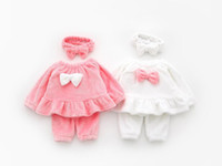 Wholesale Girls little princess red white bow cute home service suit hair band