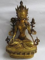 Wholesale tara statue resale online - Tibet Buddhism Brass Eyes White Tara Spirit Of Compassion Goddess Statue