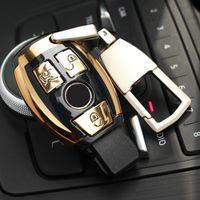 mercedes benz uzaktan kumandalı anahtarı toptan satış-Mercedes Benz ABS Auto Car Styling Uzaktan Anahtar Kabuk Anahtar Kılıf Kapak Anahtarlık Ile anahtarlık Toka Mercedes Benz W205 GLC GLA