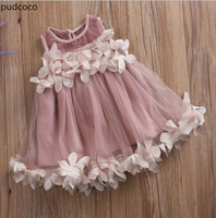 Wholesale sleeveless baby ball gown - Cute Kids Girls Princess Pink White Dresses Pageant Toddler Kids Baby Girl Sleeveless Flower Tulle Petal Party Ball Gown Dresses