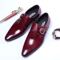 italyan elbise ayakkabı markaları toptan satış-Tasarımcı keşiş askısı resmi ayakkabı erkekler erkekler için oxford ayakkabı İtalyan marka mens elbise ayakkabı calzado hombre erkek ayakkabi sapato masculino