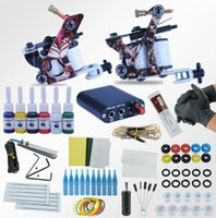 Wholesale professional tattoo needles - Tattoo Machines Power Box Set 2 guns Immortal Color Inks Supply Needles Accessories Kits Completed Tattoo Permanent Makeup Kit