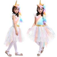 trajes de ala de bebé al por mayor-Baby girls Unicorn Rainbow vestido de encaje de los niños Vestido de princesa Tutu Trajes con 1 Diadema Unicornio + 1 Golden Wings niños Cosplay Clothing C4121