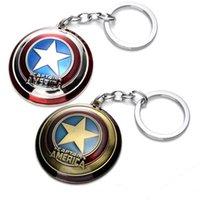 ingrosso accessori per l'animazione-The Avengers Captain America Scudo Portachiavi con ciondolo Portachiavi Portachiavi Bomboniere Animazione di cartoni animati Accessori di moda per feste regalo