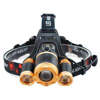fischwasserlampe großhandel-Goldene Kopf Licht Wasserdicht Flugzeug Nase Camping Outdoor Ausrüstung Teleskop Focuse Starke Lampe Nachtfischen Reiten Gebühr 25js bbWW