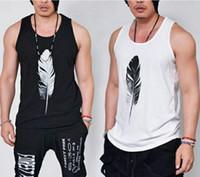 Wholesale fashion tank tops wholesale - Summer New Fashion Casual Loose Solid Feather Print Sleeveless Hip Hop Men Tank Tops Male Cool Harajuku Sportwear White&Black