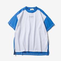 Wholesale Block Shirt - 2018 Summer Streetwear Hip Hop T-Shirt Casual Tee Shirt Block of Color Of Patchwork Hi - End Fashion Mens Short Sleeve T-Shirts