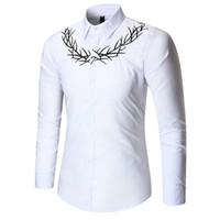 lüks erkekler resmi gömlekler toptan satış-Erkekler Gömlek Lüks Nakış Gömlek Takım Elbise Moda Gençlik Örgün Gelinlik Gömlek Uzun Kollu Erkek Giysiler Tops 1100