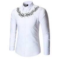 luxus männer s formale hemden großhandel-Männer Shirts Luxus Stickerei Hemd Anzug Mode Jugend Formale Hochzeitskleid Shirts Langarm Tops Männer Kleidung 1100