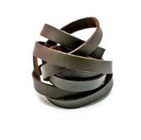 cabo de couro 8mm venda por atacado-Marrom escuro 1 M 8mm Plana Faux Camurça Coreano Cordão De Couro De Veludo Corda Corda Descobertas Jóias FXU004-02DBR