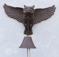 ingrosso arredamento lodge-Grande ghisa Owl Bell Patio Dinner Garden Door Portico Cabin Lodge Welcome Dinner Campana metallo Home Animal Decor Paese Brown Wall Mount
