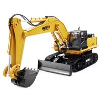 Wholesale excavator 12 - HuiNa 1510 RC Crawler 15CH 2.4G 1:14 RC Metal Excavator Charging 1:12 Car With Battery Alloy Excavator RTR Kids Toy Cars
