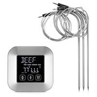 temporizador termómetro digital de carne al por mayor-Termómetro digital para carne con 3 sondas de temperatura de acero inoxidable para cocinar Cocina Termómetro para cocinar parrilla Temporizador alarma Carne