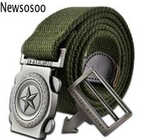 kemerli ordu yeşili toptan satış-Moda marka erkekler rahat kanvas kemer lüks erkekler için örme mens Metal Toka kemer askeri tasarımcı kemerler ordu yeşil 110 cm