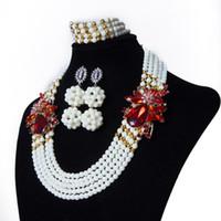 collar floral blanco al por mayor-Colección de joyas de abalorios africanos, el collar de amigos, conjunto de collar africano blanco, floral nigeriano, envío gratis