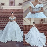 Wholesale corset gown flower skirt for sale - 2018 New Said Mhamad Off Shoulder Ball Gown Wedding Dresses Hand made Flowers Appliques Lace Beaded Corset Back Chapel Train Bridal Gowns