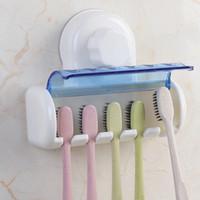 portavasos montado en la pared baño al por mayor-Cepillo de dientes de montaje en pared Cepillo de dientes de fácil instalación Soporte de ventosas Creative 5 Cepillo de dientes Soporte de montaje en pared Herramienta de baño