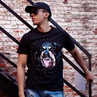 cães alto venda por atacado-Moda Casual Cabeça De Cão T-Shirt Europa Rua de Manga Curta High-end Das Mulheres Dos Homens de Verão Respirável Legal Algodão Tee HFYMTX322