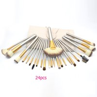 Wholesale Wooden Make Up - In Stock!Classcial 12 18 24pcs Silver Make up Brush Set Wooden Cosmetic Brushes Set With Leather Bag Foundation Brush Set DHL Free Shipping