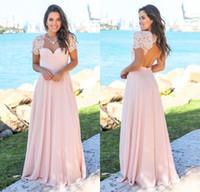 diseñadores de vestidos de novia de color rosa al por mayor-Nueva llegada 2019 diseñador melocotón rosa largos vestidos de dama de encaje mangas casquillo gasa hueco espalda por encargo vestidos de invitados de boda BM0151