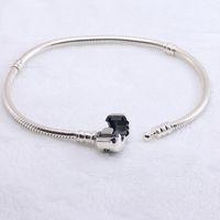 melhor presente pulseira pandora venda por atacado-Authentic 925 Sterling silver Pulseiras cadeia de cobra com logotipo pulseira fit pandora Encantos Beads jóias para mulheres e homens melhor presente