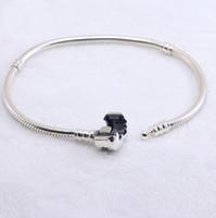 en uygun bilezik toptan satış-Otantik 925 Gümüş bilezikler logo ile yılan zincir bilezik fit pandora Charms Boncuk takı kadınlar ve erkekler için en iyi hediye