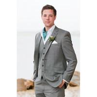 hellgraue wollbindung großhandel-Custom made Best hellgrau Fresh Wool Suit Herren Anzüge Mode männer Anzug Hochzeit Bräutigam Smoking Blazer (jacke + hose + weste + tie)