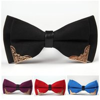 Wholesale korean men wedding fashion - Korean Metal Edge Bow Ties Adjust The Buckle Bowknot Occupational Polyester Tie For Party Wedding Decor Gifts 7sj Z