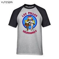 рубашка los pollos hermanos оптовых-Мужская мода разорвать плохо футболка Лос-POLLOS Hermanos футболка курица братья 100% хлопок тройник хипстер горячие продажи топы
