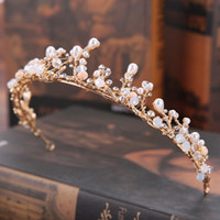 Wholesale Bridal Golden Crown - New style bridal pearl handmade crown set golden branches princess crown tiara wedding dress accessories hair accessories