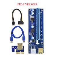Wholesale Golden Usb - 2018 Golden VER009S PCI-E PCIE PCI Express Molex 6Pin to SATA 1X 16X Riser Card USB3.0 Extender Adapter LED Mining