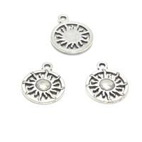 encantamentos circulares venda por atacado-20 pçs / lote sol encantos antiqued tom de prata sol charme pingentes 20x16mm