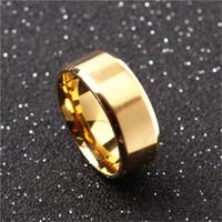 bagues plaquées or achat en gros de-8mm en acier inoxydable anneaux des bandes de mariage pour les femmes Mens bague en bande pour les hommes, noir / or plaqué / argent
