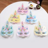 fiesta de cumpleaños de disfraces suministros al por mayor-Unicornio Masquerade Máscara de Oro Glitter Paper Unicornio Máscaras para Niños Adultos Fiesta de Cumpleaños Decoraciones de Boda Suministros Venta 13dy YB