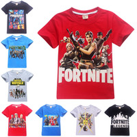 Wholesale girl clothes designs - Kids Boys Girls fortnite t shirts 100% Cotton 29 designs 6~14 years old Fortnite Printed kids t-shirts summer kids clothing LA777