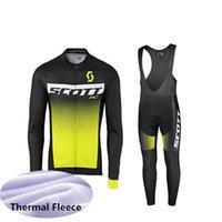 тепловые флис велосипедные трикотажные штаны оптовых-ropa ciclismo Скотт про команда зима Велоспорт Джерси с длинным рукавом тепловой флис велосипед одежда (нагрудник) брюки набор мужской Велоспорт одежда 91006F
