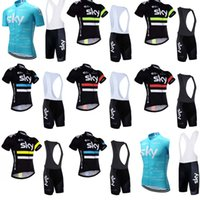 Wholesale Team Sky Jersey Bib - Brand New Team SKY Cycling Clothing For Men Short Sleeve Cycling Jersey Sets Cycling Bib Shorts sets ropa ciclismo hombre mtb jersey C0814