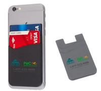 renkli iphone çıkartmaları toptan satış-4 renk Özelleştirilmiş logo baskılı Silikon Iş Kredi Adı Kart Tutucu Kılıf silikon kart tutucu iphone için 3 m sticker kılıfı